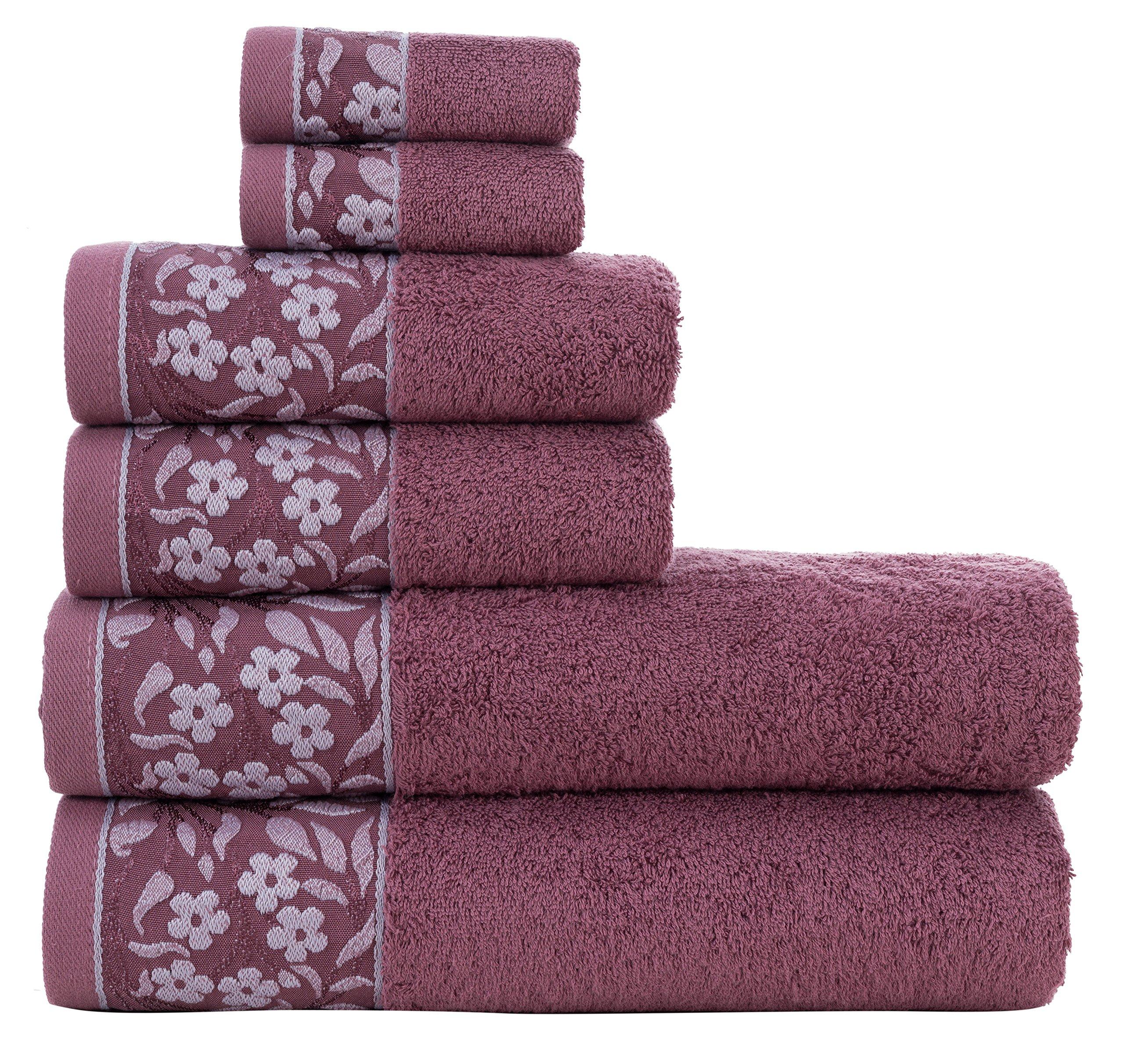 HYGGE Premium Turkish Cotton Towel Set with Floral Jacquard; 2 Bath Towels (27'' x 56''); 2 Hand Towels (19'' x 32''); 2 Washcloths (12'' x 12'')