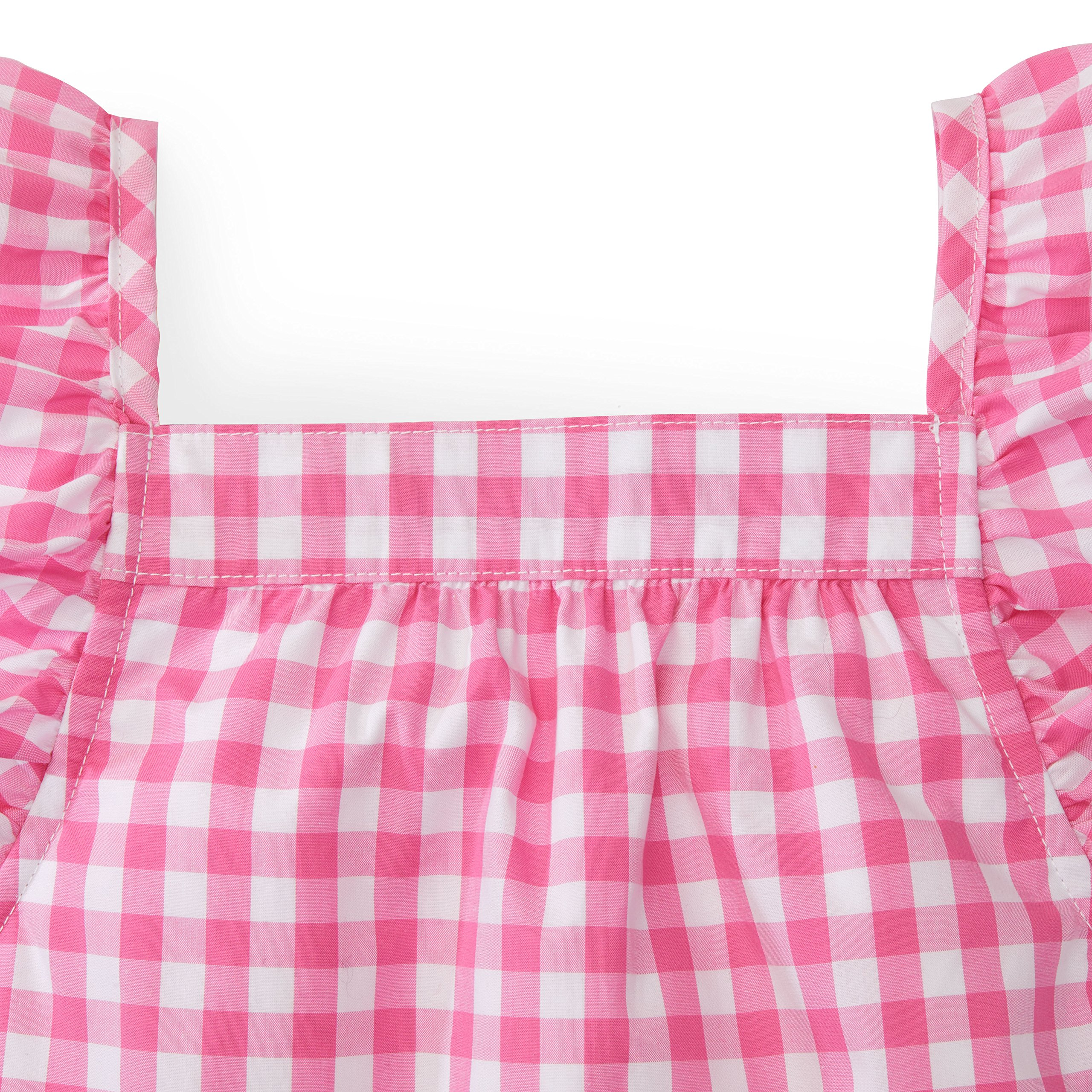 Hope & Henry Girls' Pink Gingham Frill Sleeve Woven Dress Made with Organic Cotton by Hope & Henry (Image #2)
