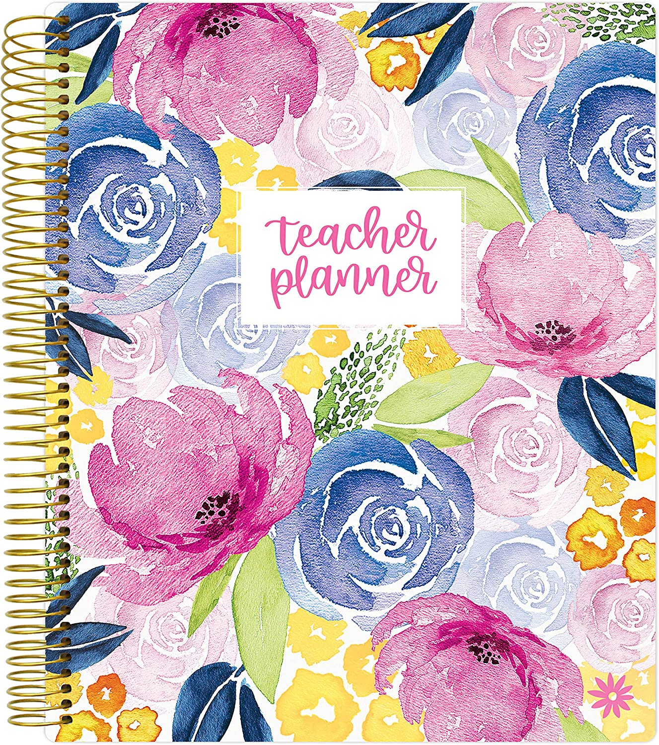 "bloom daily planners Undated Academic Year Teacher Planner - Lesson Plan Calendar Book - 9"" x 11"" - Watercolor Floral : Office Products"