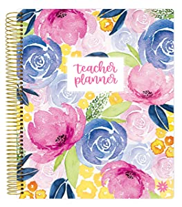 """bloom daily planners Undated Academic Year Teacher Planner - Lesson Plan Calendar Book - 9"""" x 11"""" - Watercolor Floral"""