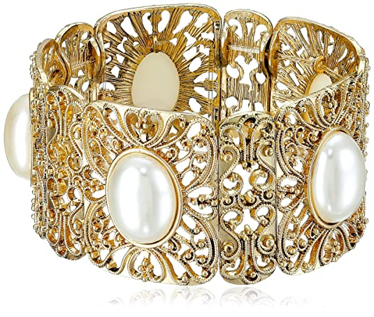 Vintage Style Jewelry, Retro Jewelry 1928 Jewelry Gold-Tone Simulated Pearl Stretch Bracelet 2.5 $24.00 AT vintagedancer.com