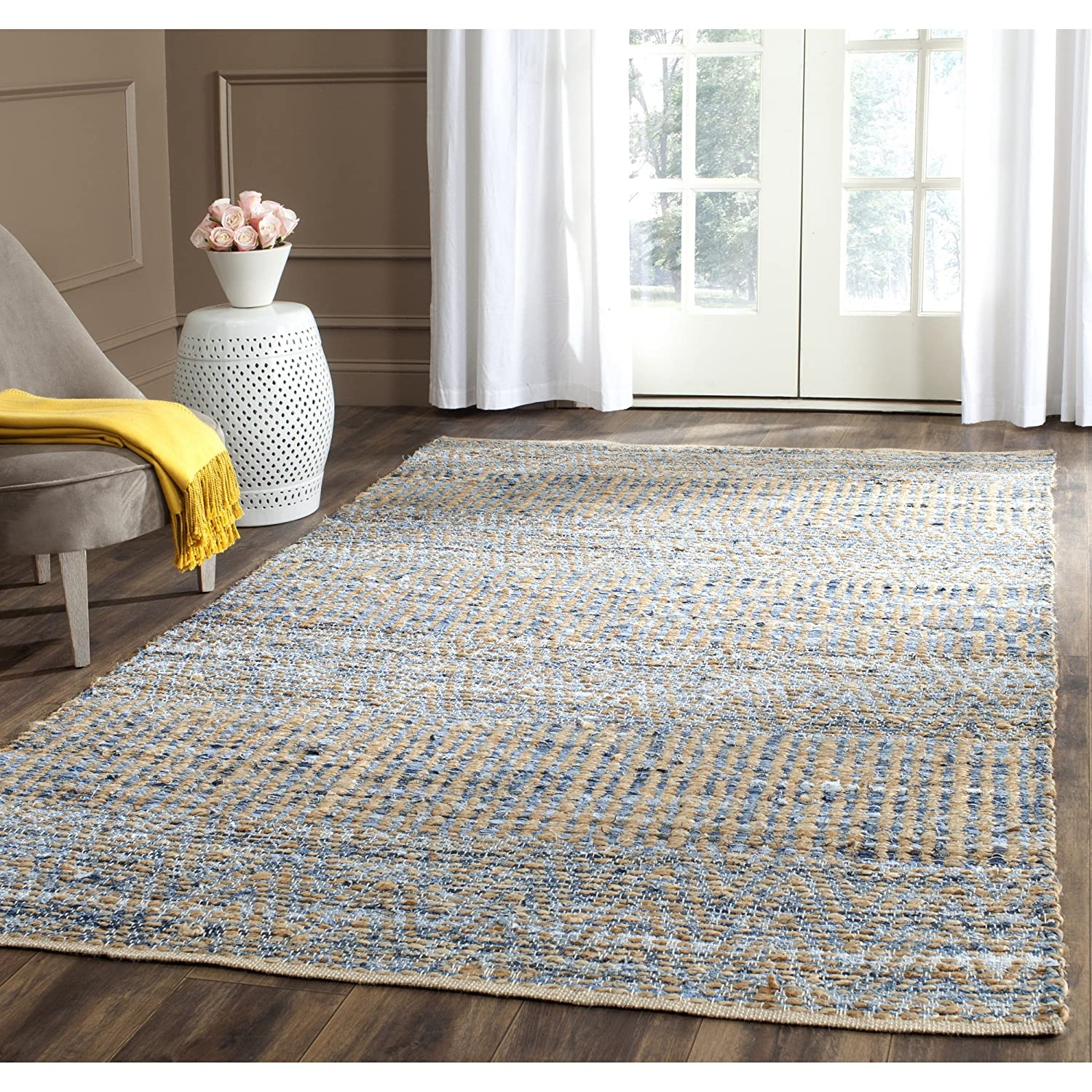 Safavieh Cape Cod Collection CAP353A Hand Woven Flatweave Natural and Blue Jute Area Rug (5' x 8')