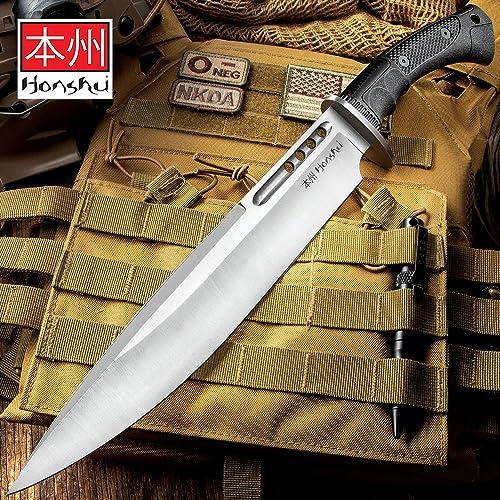 Honshu Boshin Toothpick Knife with Sheath – 7Cr13 Stainless Steel Blade, Contoured TPR Handle, Lanyard Hole – Length 18 3 4