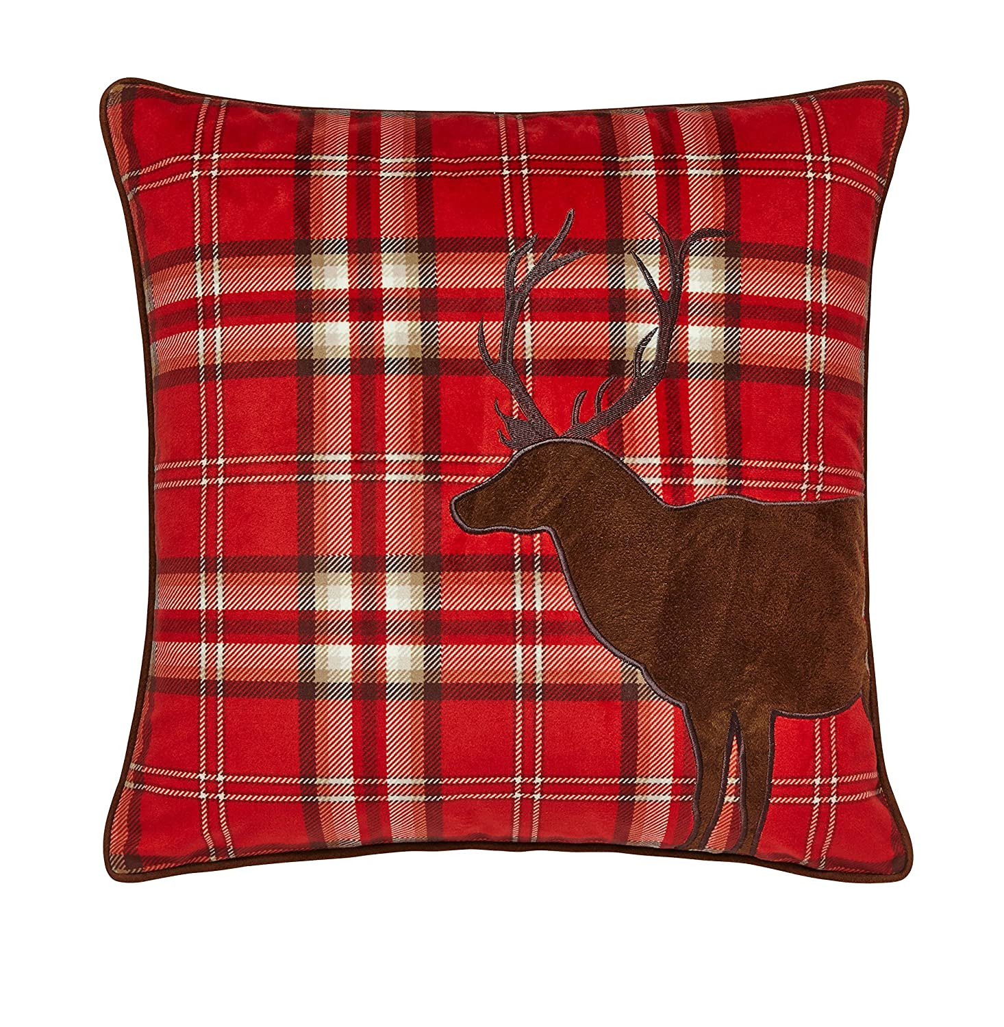 Catherine Lansfield Tartan Stag Cushion Cover Red Amazon