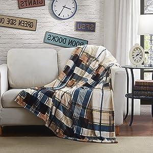 Tache Home Fashion Winter Cabin Throw Blanket, 66 x 90, Blue/Tan