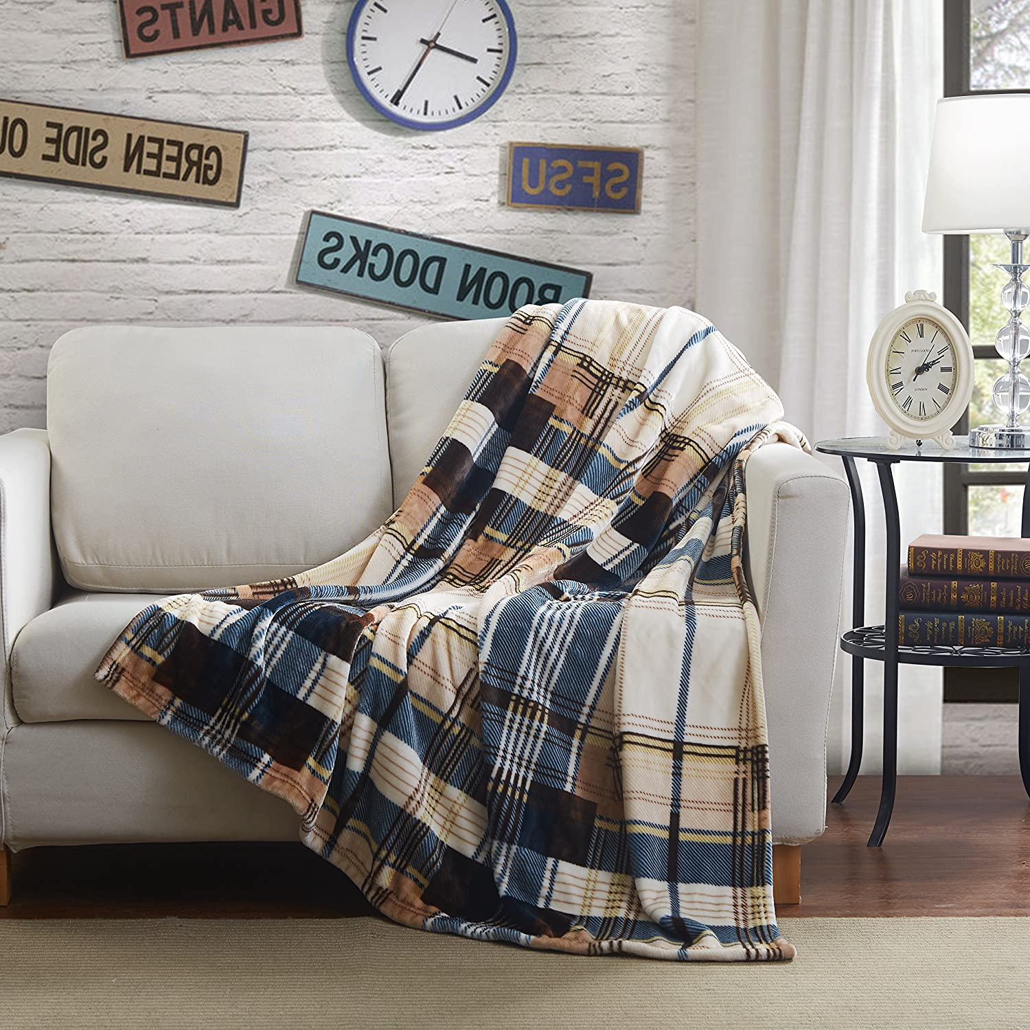 Tartan Plaid Brown Winter Cabin Bed Throw Blanket, 80 x 90