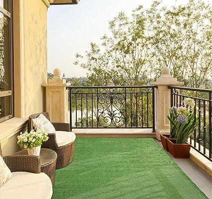 Ottomanson Evergreen Collection Indoor/Outdoor Green Artificial Grass Turf  Solid Design Area Rug Rv Patio