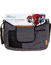 Dreambaby Strollerbuddy On-The-Go Bag (Grey Denim) Organiser for All Strollers, Multiple Pockets,