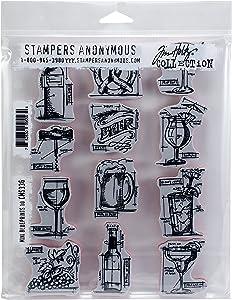 "Tim Holtz Cling Stamps 7""X8.5"" Mini Blueprints, Multi"