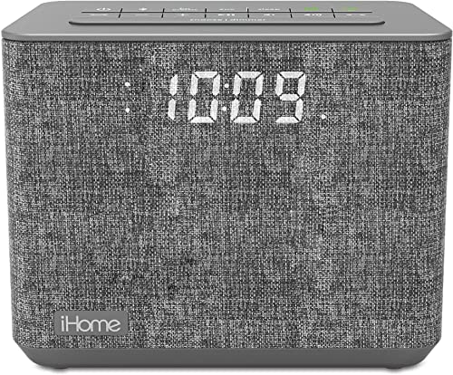 iHome iBT232 Bluetooth Dual Alarm Clock FM Radio with Speakerphone and USB Charging -Gray Newest Model