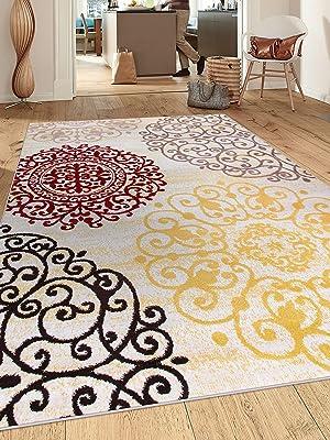 "Rugshop Contemporary Modern Floral Indoor Soft Area Rug, 5'3"" x 7'3"", Cream"