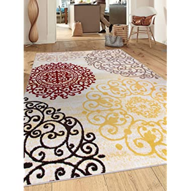 Rugshop Contemporary Modern Floral Indoor Soft Area Rug, 3'3  x 5', Cream