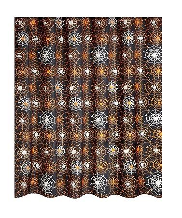 Halloween Shower Curtain Spider Web Glow In The Dark Black And Orange
