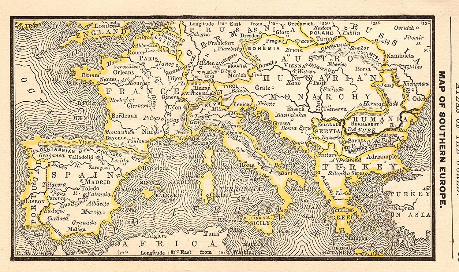 Map Of Spain 1300.Amazon Com 1888 Antique Europe Map Of Spain France Italy Greece