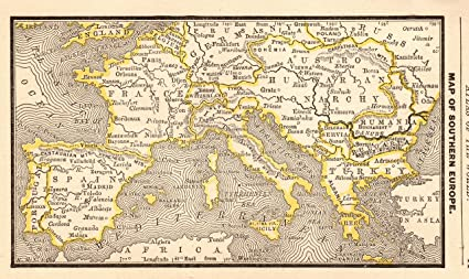 Amazon Com 1888 Antique Europe Map Of Spain France Italy Greece
