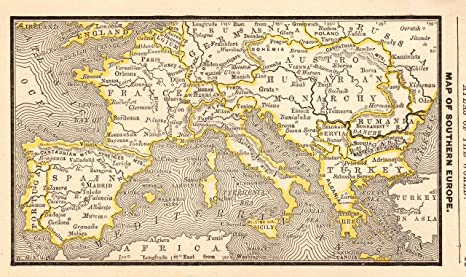 Map Of France Italy And Spain.Amazon Com 1888 Antique Europe Map Of Spain France Italy Greece