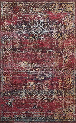 Unique Loom Augustus Collection Boho Traditional Vintage Rust Red Area Rug 5 0 x 8 0