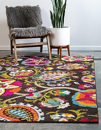 Unique Loom Estrella Collection Colorful Abstract Brown Area Rug 9' 0 x 12' 0