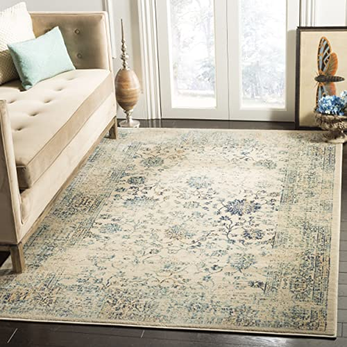 Safavieh Evoke Collection EVK510F Vintage Oriental Beige and Turquoise Area Rug 4 x 6