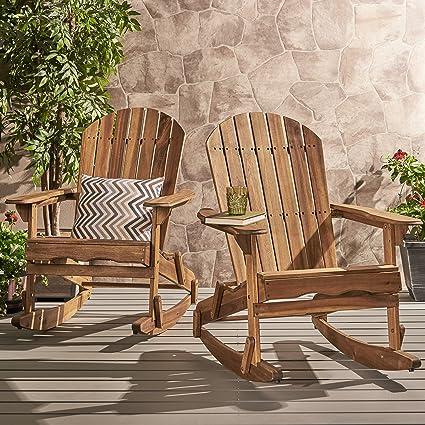 Great Deal Furniture Estelle Outdoor Natural Finish Acacia Wood Adirondack Rocking Chairs (Set of 2 & Amazon.com : Great Deal Furniture Estelle Outdoor Natural Finish ...