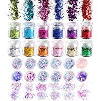 R HORSE 24 Boxes Nail Holographic Chunky Glitter Iridescent Mermaid Colorful Sequins Confetti Powder DIY Manicure…