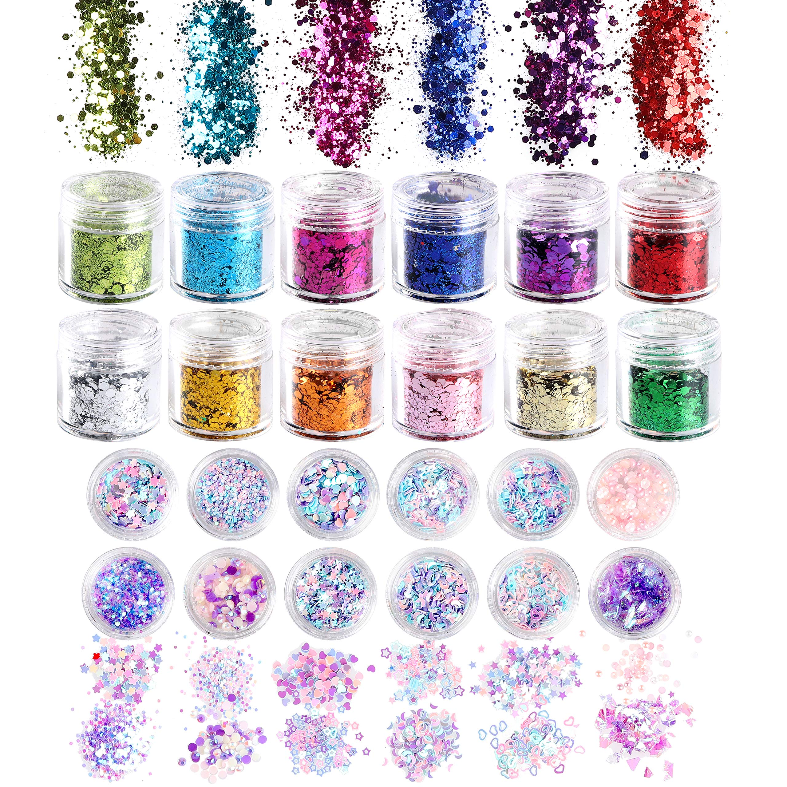 R HORSE 24 Boxes Nail Holographic Chunky Glitter Iridescent Mermaid Colorful Sequins Confetti Powder DIY Manicure Accessories for Nail Art Accessories, Face and Body Makeup, Hair, Crafts by R HORSE