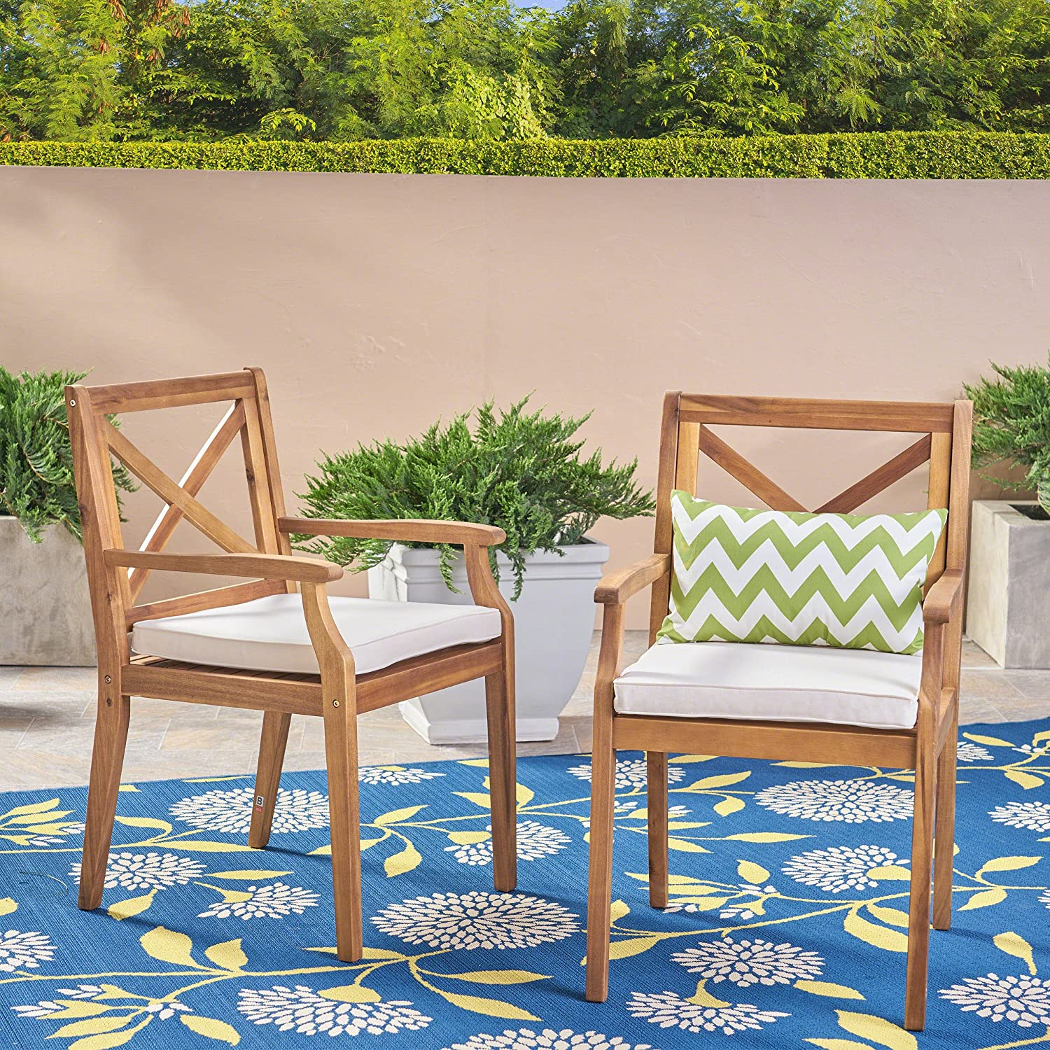 Christopher Knight Home 304680 Peter   Outdoor Acacia Wood Dining Chair Set of 2, Teak/Cream Cushion : Garden & Outdoor