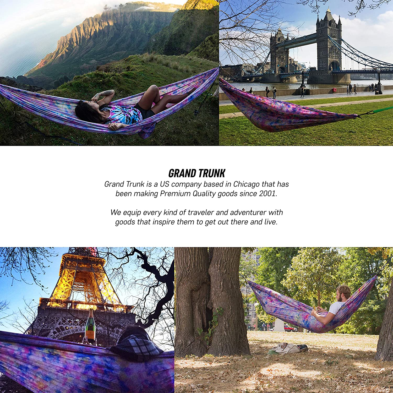 Camping Double Survival Grand Trunk Hammock Indoor Outdoor Backpacking Prints for Every Personality Parachute Nylon Tree Hanging Kit Included Portable Travel