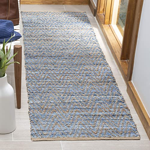 Safavieh Cape Cod Collection CAP350A Hand Woven Flatweave Chevron Natural and Blue Jute Runner 2 3 x 6
