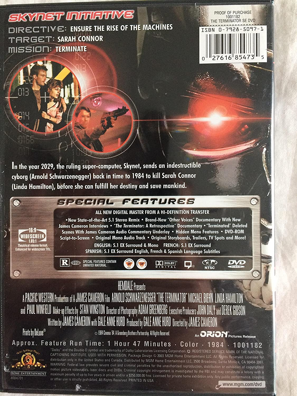 Amazon.com: The Terminator: Special Edition: Arnold Schwarzenegger ...