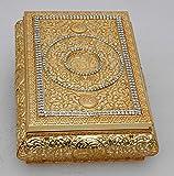 Islamic Muslim metal gold Quran Box with rhinestone/ Home decorative # 1659