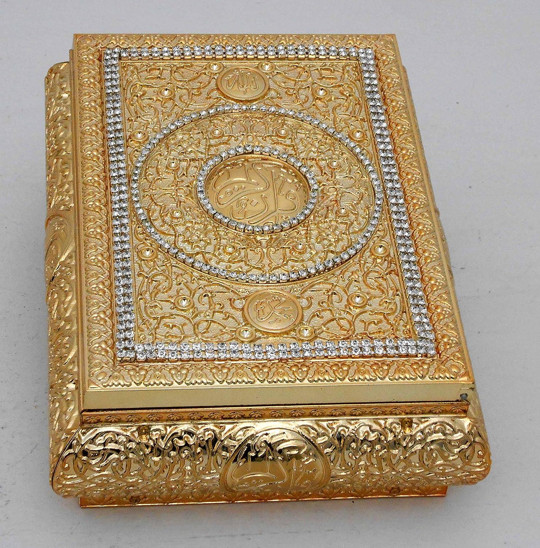 FN Islamic Muslim gold color Quran Box with rhinestone/Home decorative # 1659