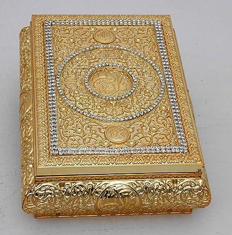 amazon com fn islamic muslim gold color quran box with rhinestone