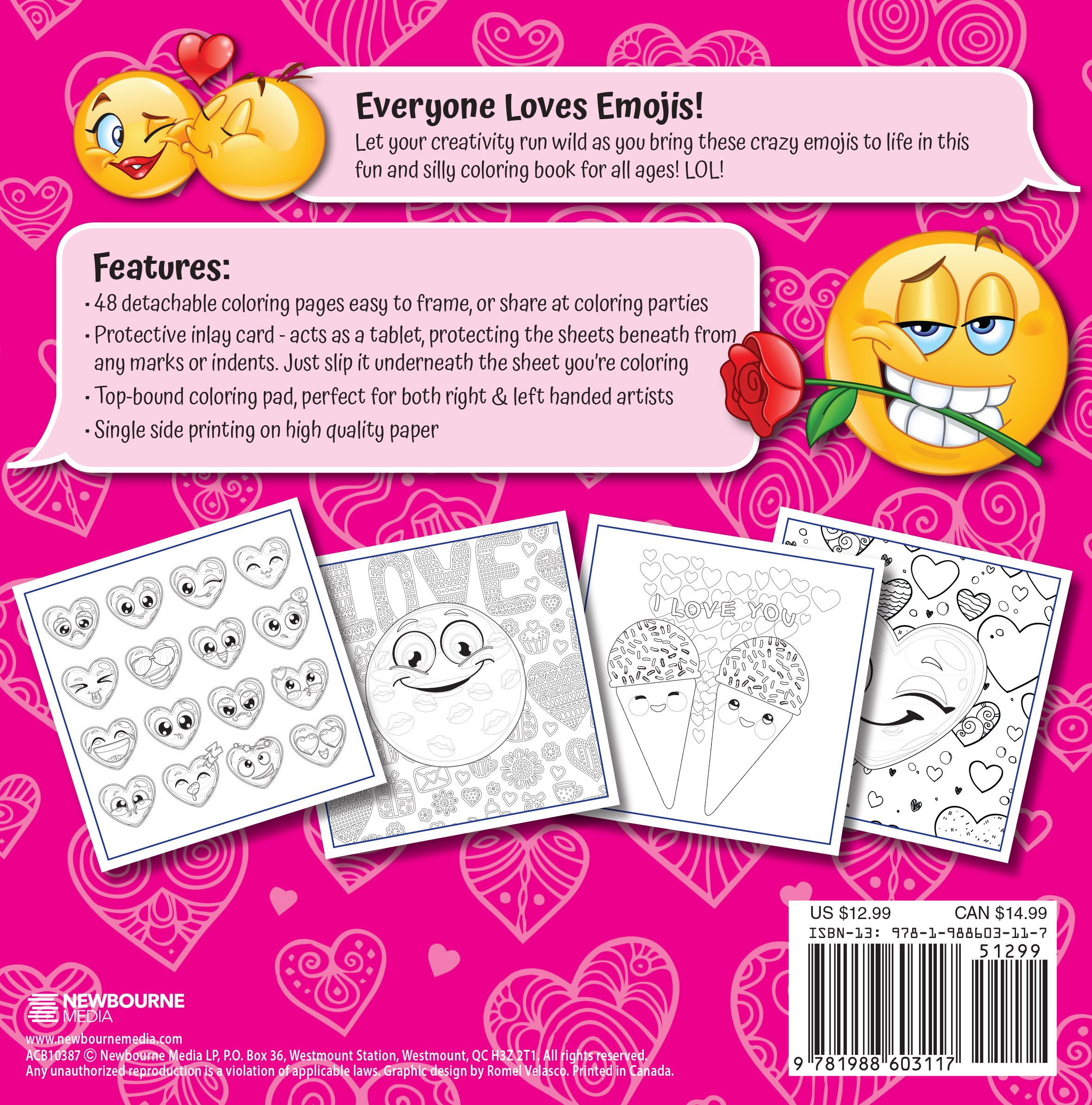 Amazon Emoji Love Coloring Book 48 Cute Fun Pages For Adults Teens And Kids Great Party Gift Officially Licensed Series