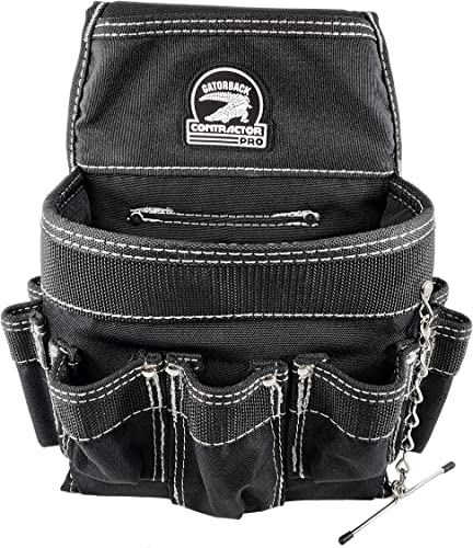 Gatorback B201 Professional Electricians Pouch. Tool Belt Ready Durable Electrician Pouch with 18 Pockets and Tape Chain