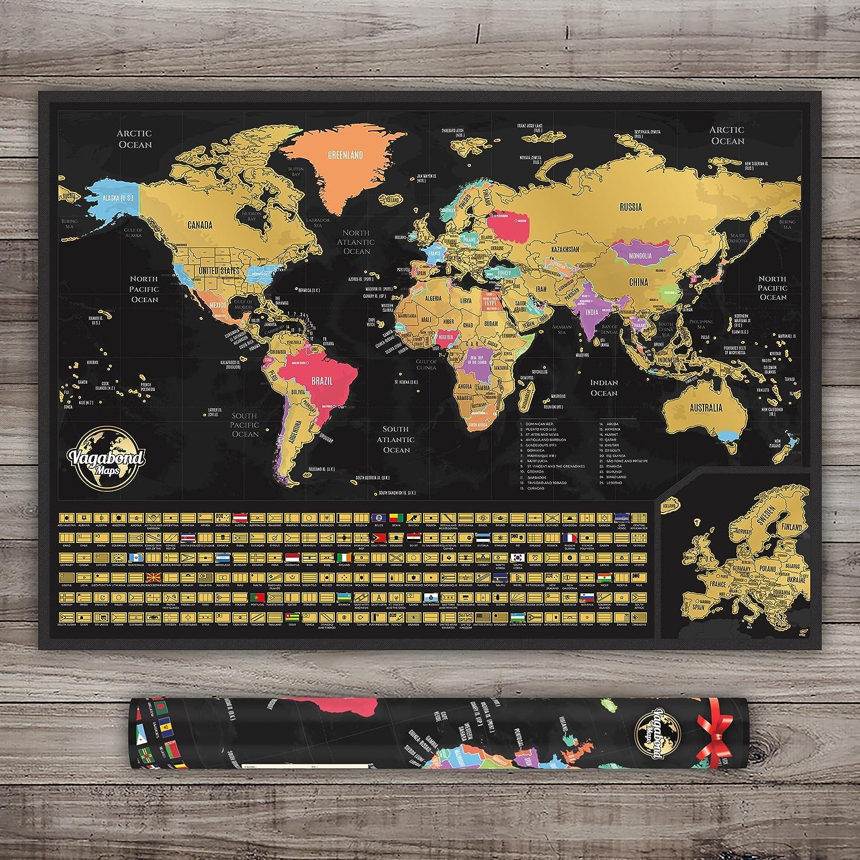 Cartina Personalizzata Per Tenere Traccia Dei Tuoi Viaggi con Zoom SullEuropa - Mappa Del Mondo con Bandiere XXL 84 x 58 Centimeter Stati Uniti Contornati Vagabond Mappa del Mondo da Grattare