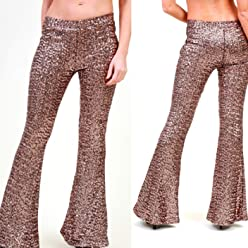 96f3a01d2afdf6 AZZAVERA Shiny Bronze Sequin High Waist Flare Pants Bell Bottoms Wide Leg  Long Palazzo Yoga Harem