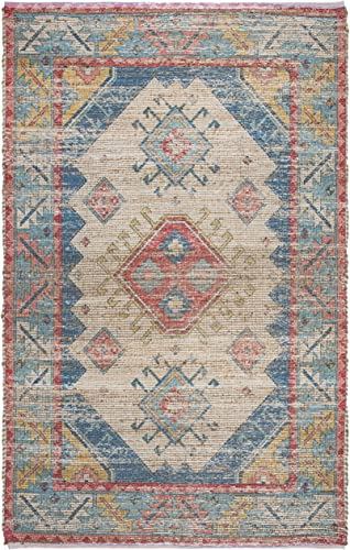 Safavieh Saffron Collection SFN509A Hand-Woven Area Rug, 8 x 10 , Cream Blue