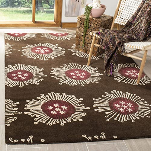 Safavieh Soho Collection SOH852A Handmade Brown and Multi Premium Wool Area Rug 5' x 8'