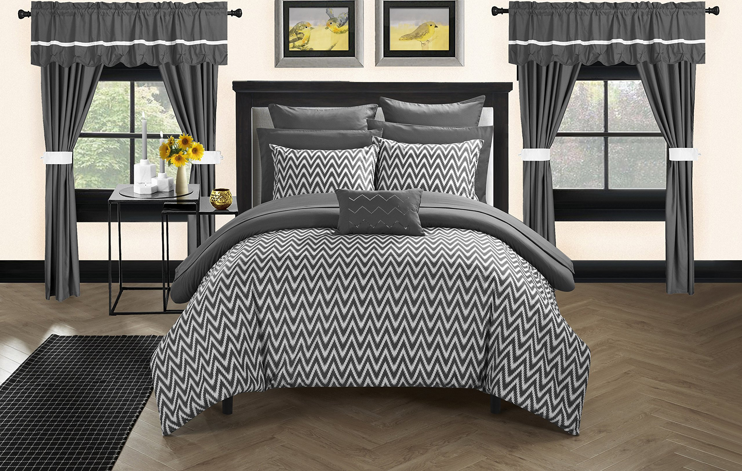 Chic Home CS0586-AN 20 Piece Jacksonville Complete Bed Room In A Bag Super Pinch Pleated Design Reversible Chevron Pattern Comforter Set, Sheet, Window Treatments And Decorative Pillows, Queen, Grey by Chic Home (Image #3)