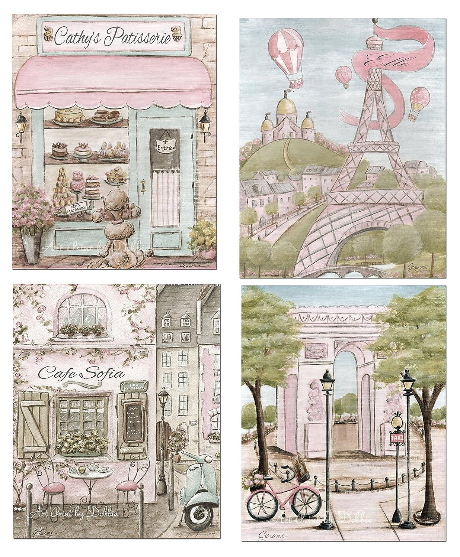 Fabulous Paris Bedroom Decor Vintage Paris Set Of 4 Shabby Chic Personalized French Nursery Decor 6 Sizes 5X7 To 24X36 Interior Design Ideas Tzicisoteloinfo