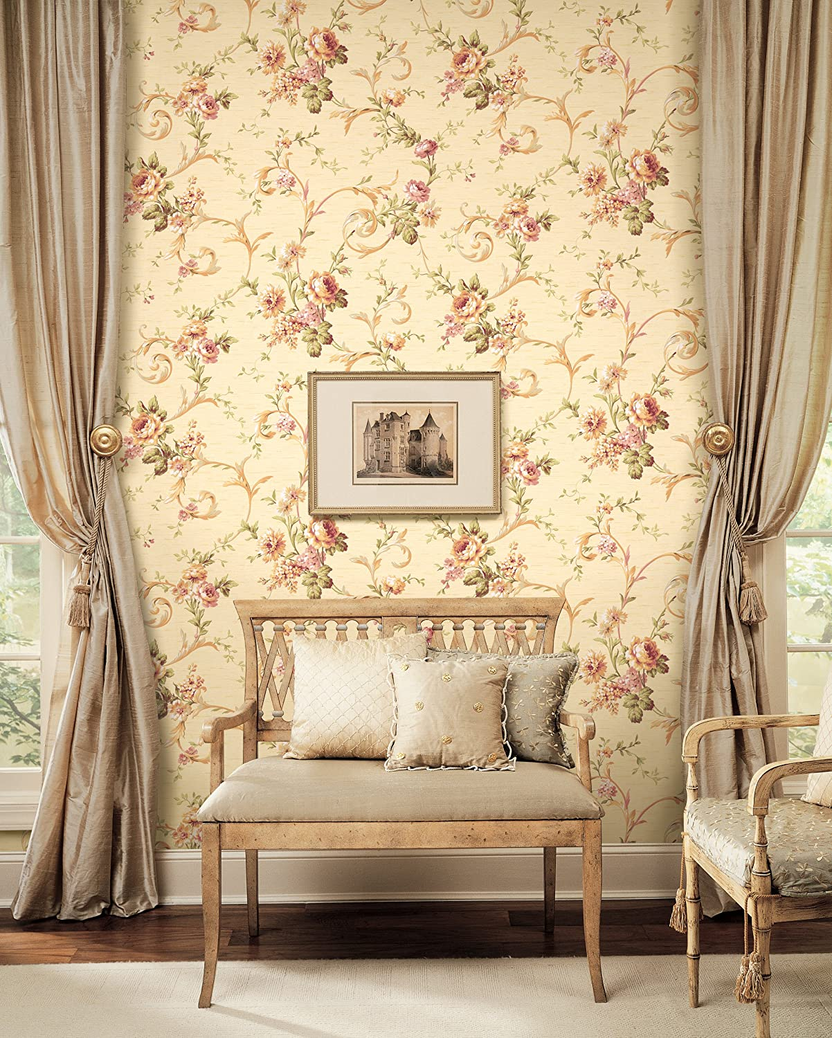 Amazon.com: York Wallcoverings CG5641 Willow Woods Floral Scroll ...