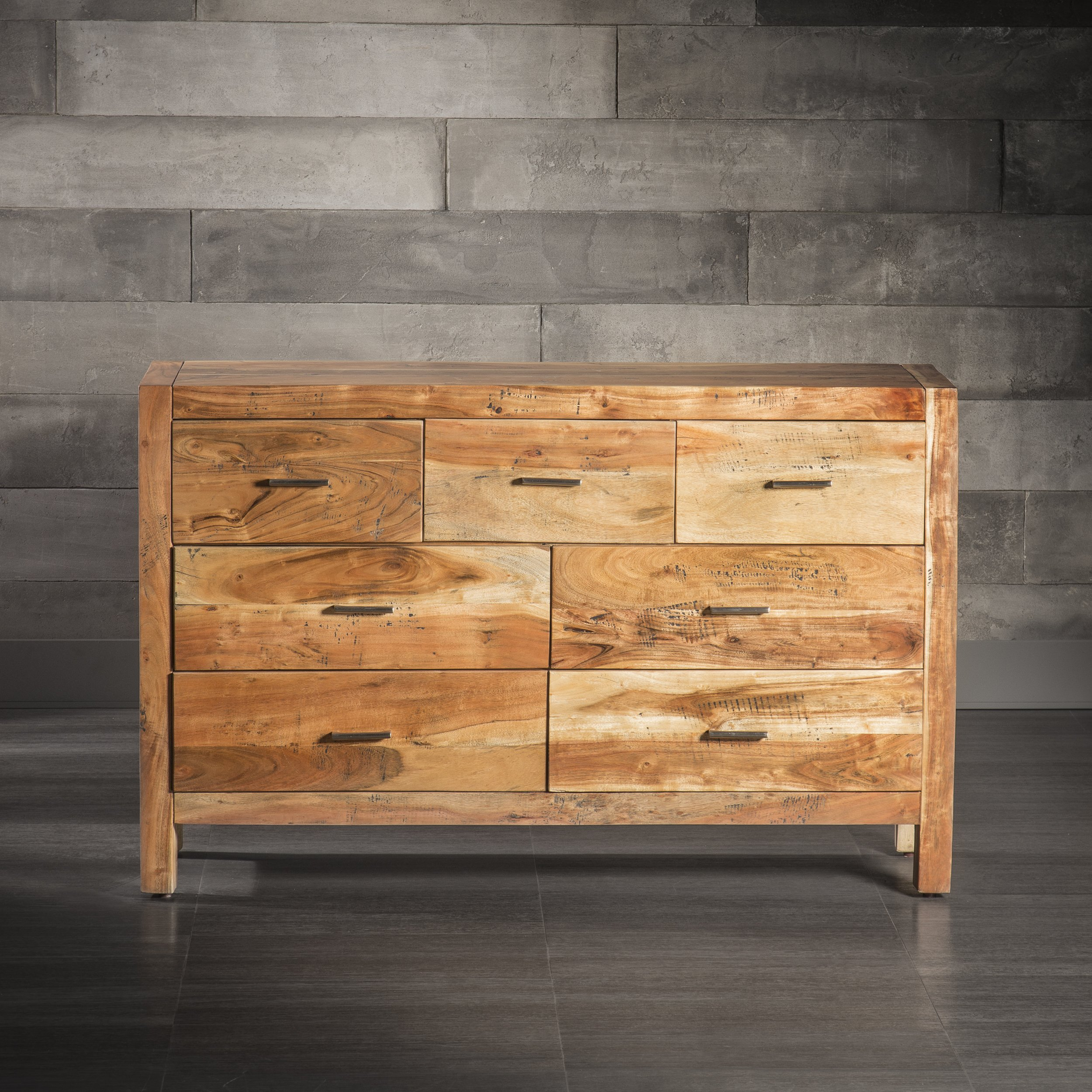 Artemano Large Andie 7 Drawer Dresser Made of Rosewood, Acacia Wood, 57''x16''x36''