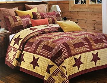 Amazon.com: 3pc Full/Queen Size Homestead Red Primitive Country ... : country star quilt - Adamdwight.com