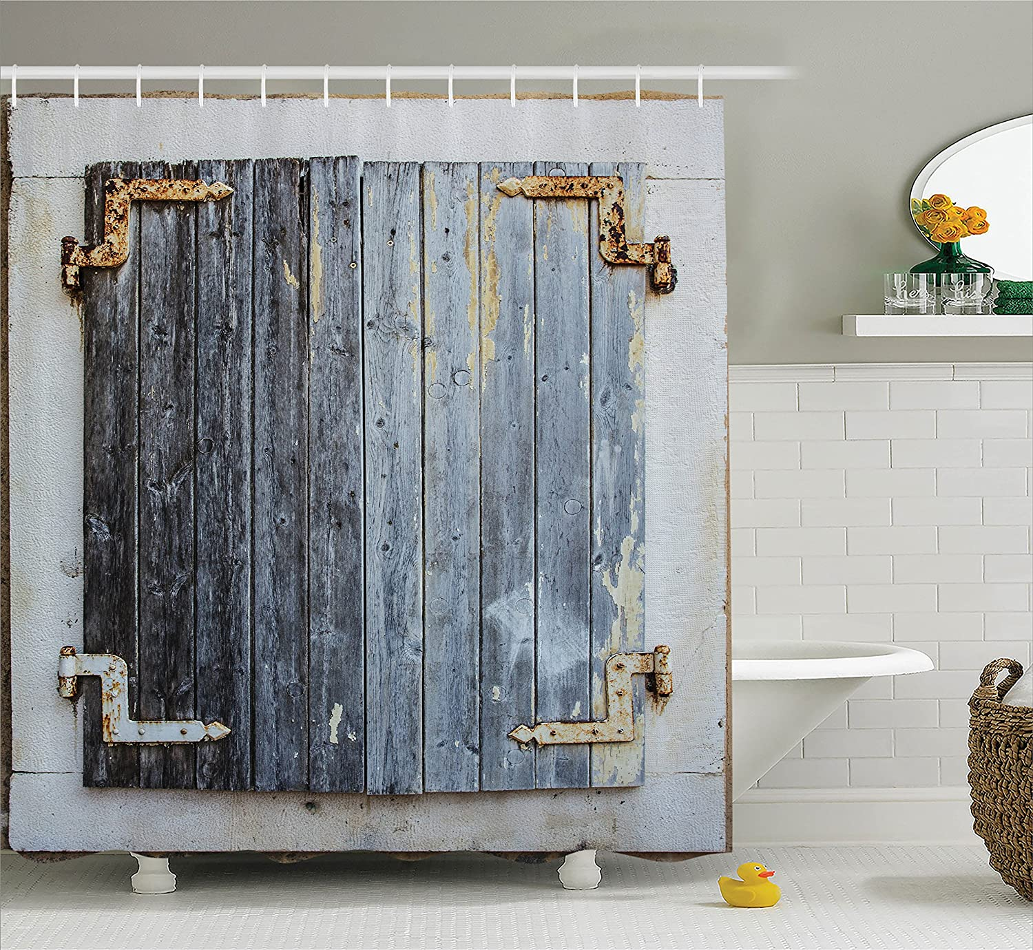 Ambesonne Shutters Decor Shower Curtain Set, Rustic Wooden Window Shutters with Shabby Paint Rusty Antique Traditional Village Picture, Bathroom Accessories, 69W X 70L Inches, Blue