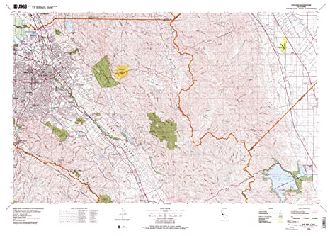 San Jose Elevation Map.Amazon Com Yellowmaps San Jose Ca Topo Map 1 100000 Scale 30 X