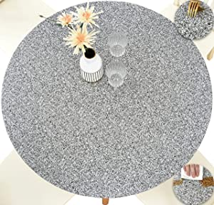 Rally Home Goods Indoor Outdoor Patio Round Fitted Vinyl Tablecloth, Flannel Backing, Elastic Edge, Waterproof Wipeable Plastic Cover, Gray Granite Patterns for 6-Seat Table of 43-56'' Diameter