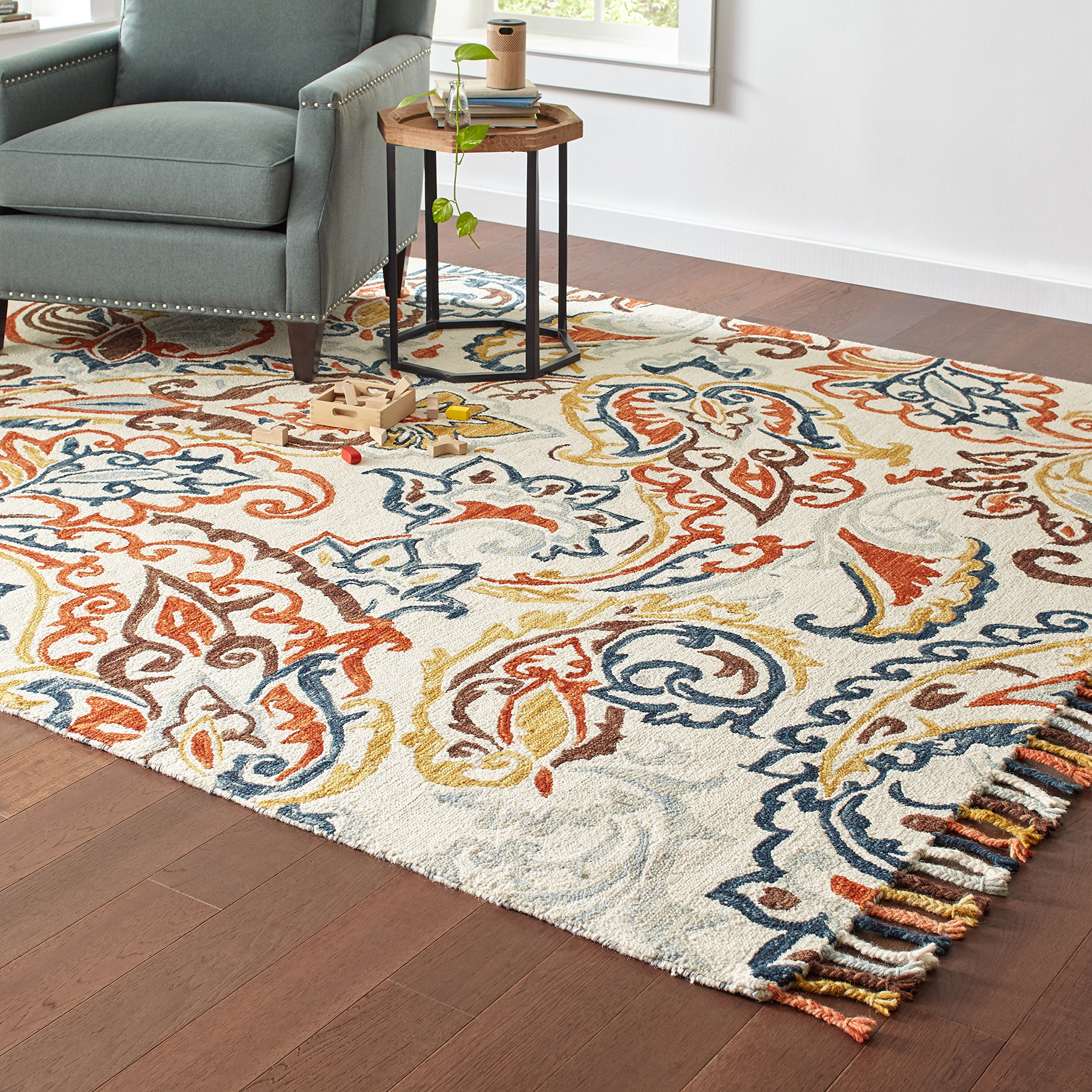 Stone & Beam Swirling Paisley Motif Wool Area Rug, 8' x 10', Multi by Stone & Beam (Image #3)