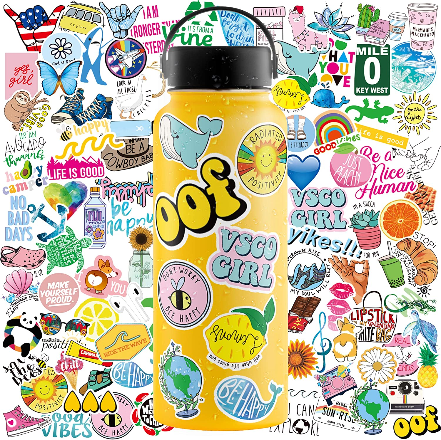 Water Bottle Stickers (100 Pack) – Vinyl Stickers for Hydroflasks, Laptop Stickers – Cute Stickers for Water Bottles with Inspirational Quotes, Fade-Proof, Waterproof Stickers for Girls