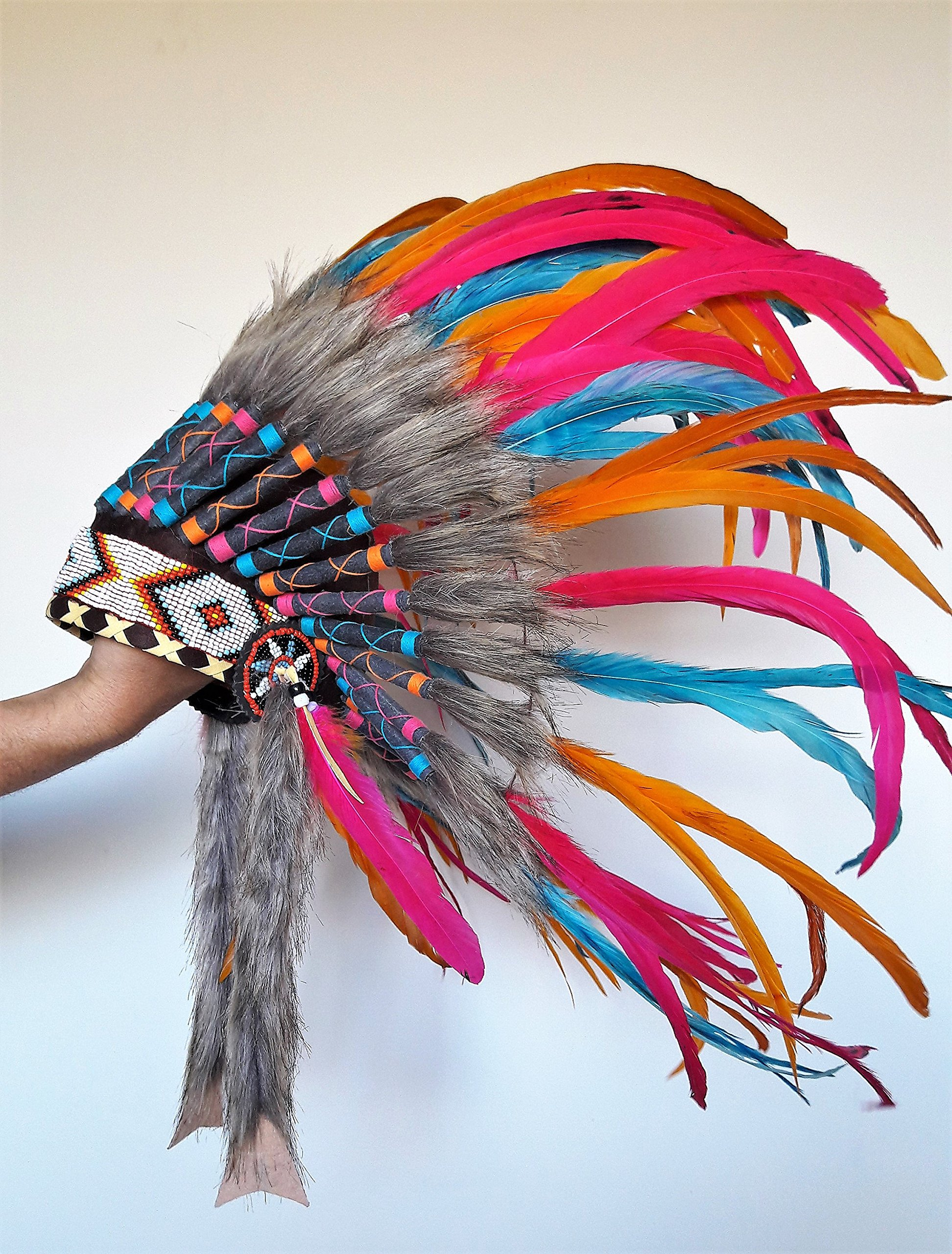 N25 - For 9 To 18 Month Toddler/Baby: Pink, Orange and Turquoise Native American Style Indian Inspired Headdress For The Little Ones ! by KARMABCN (Image #2)